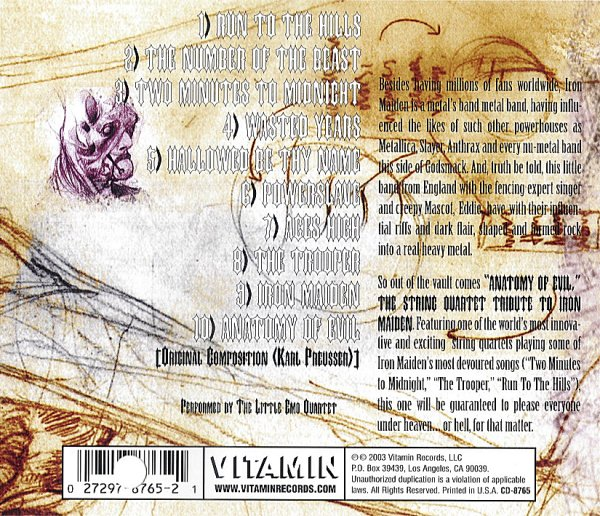 The String Quartet Tribute To Iron Maiden – Back cover